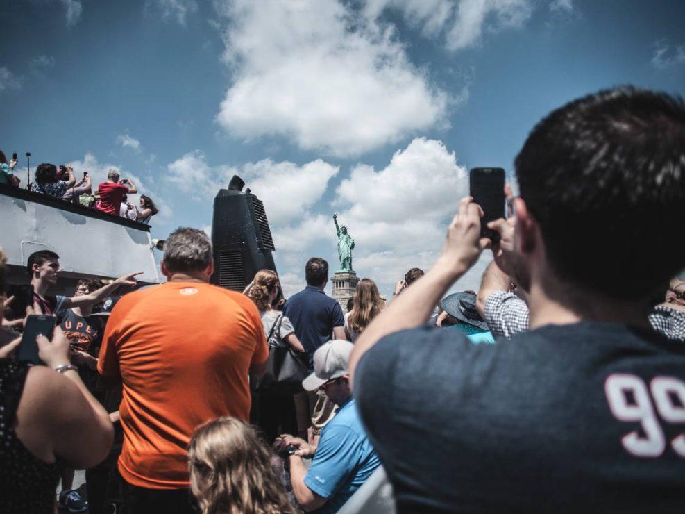 la statue de la liberté vue du bateau